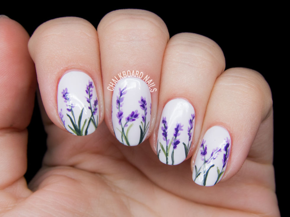 lavender blossom floral nail art 2