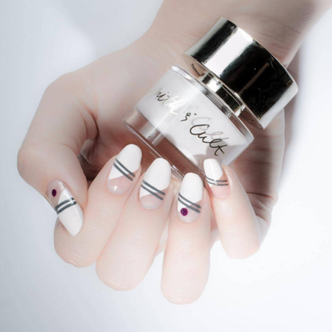 smith and cult white negative space stripe nail art